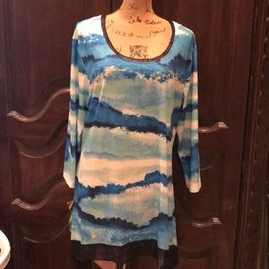 Indigo soul blue white and teal top